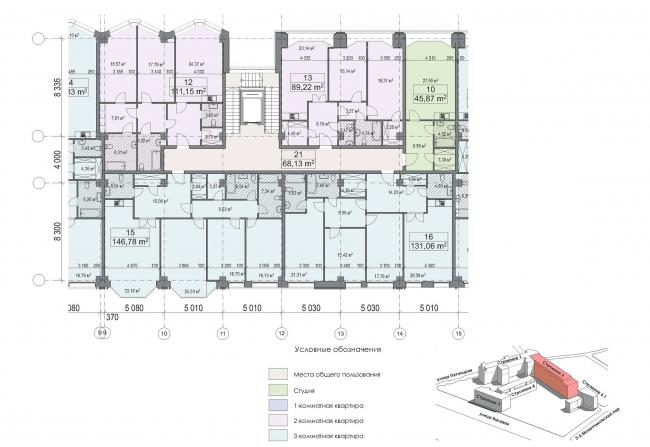 Конкурсный проект реновации первой образцовой типографии. Фрагмент плана типового этажа. Корпус 2. Секция 2. Вариант 1 © Архитектурная мастерская «Группа АБВ»
