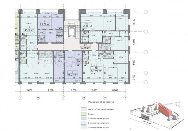 Конкурсный проект реновации первой образцовой типографии. Корпус 2. Фрагмент плана типового этажа. Секция 3. Вариант 1 © Архитектурная мастерская «Группа АБВ»