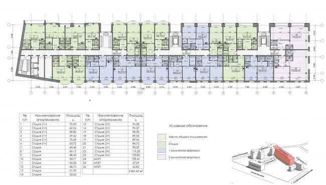 Конкурсный проект реновации первой образцовой типографии. Корпус 2. План типового этажа. Вариант 1 © Архитектурная мастерская «Группа АБВ»