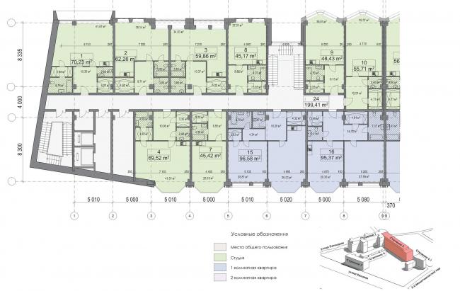 Конкурсный проект реновации первой образцовой типографии. Корпус 2. План типового этажа. Секций 1. Вариант 2 © Архитектурная мастерская «Группа АБВ»