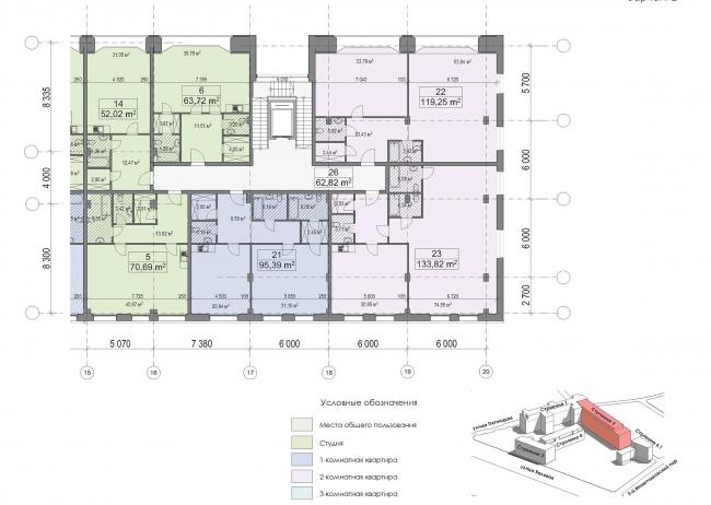 Конкурсный проект реновации первой образцовой типографии. План типового этажа. Корпус 2. Секция 2. Вариант 2 © Архитектурная мастерская «Группа АБВ»