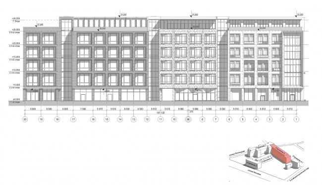 Конкурсный проект реновации первой образцовой типографии. Фасад по 2-му Монетчиковому переулку. Корпус 2  © Архитектурная мастерская «Группа АБВ»