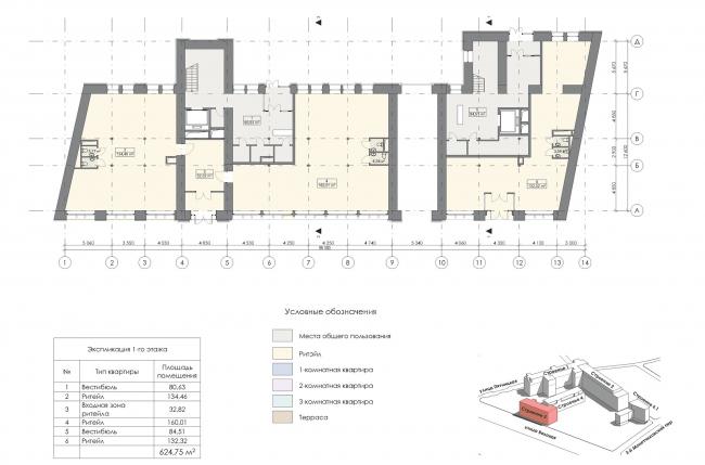 Конкурсный проект реновации первой образцовой типографии. Корпус 3. План 1 этажа © Архитектурная мастерская «Группа АБВ»