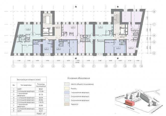 Конкурсный проект реновации первой образцовой типографии. Корпус 3. План типового этажа © Архитектурная мастерская «Группа АБВ»