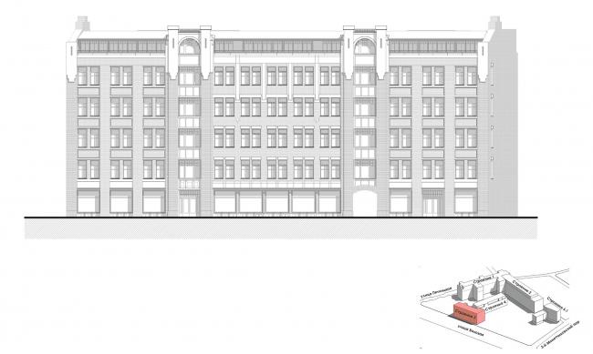 Конкурсный проект реновации первой образцовой типографии. Корпус 3. Фасад. Вариант 1 © Архитектурная мастерская «Группа АБВ»