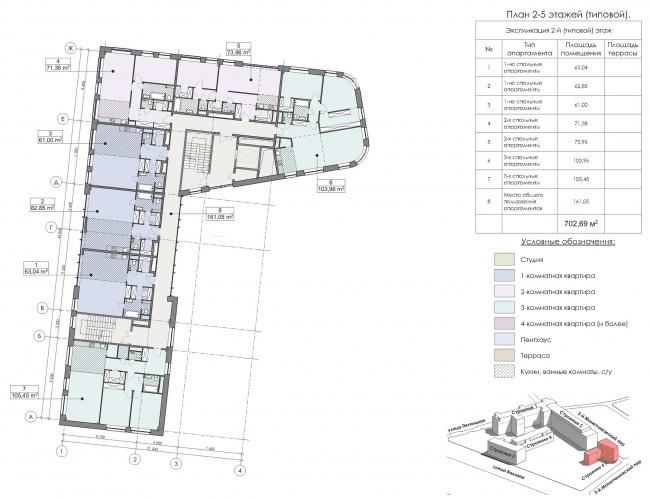 Конкурсный проект реновации первой образцовой типографии. Корпус 6. План 2-5 этажей (типовой) © Архитектурная мастерская «Группа АБВ»