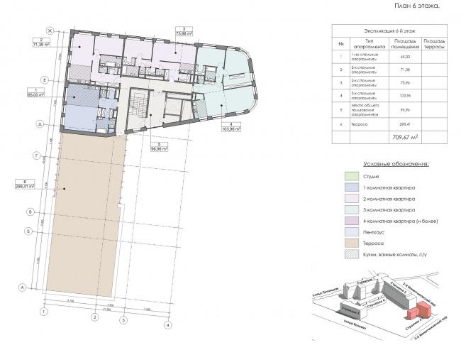 Конкурсный проект реновации первой образцовой типографии. Корпус 6. План 6 этажа © Архитектурная мастерская «Группа АБВ»
