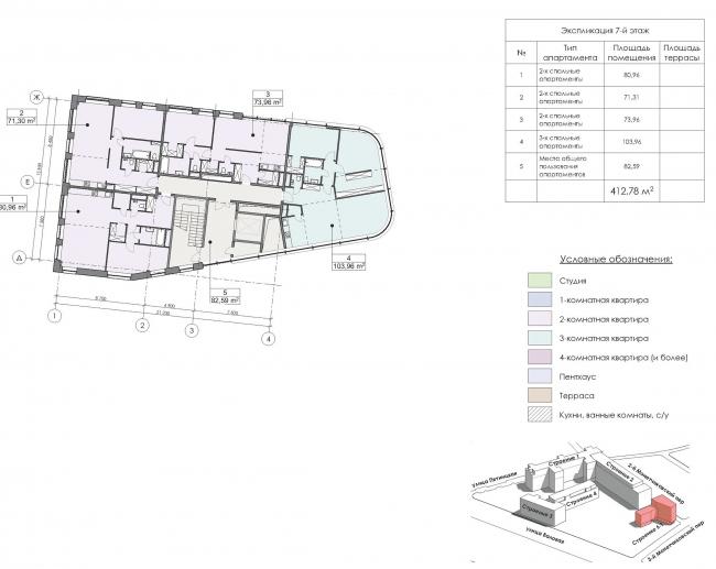 Конкурсный проект реновации первой образцовой типографии. Корпус 6. План 7 этажа © Архитектурная мастерская «Группа АБВ»
