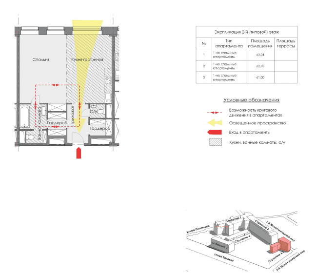Contest project of renovating the First Exemplary Printing Works. Example of a studio apartment. Building 6. Plan of the 1st floor © ABV Group