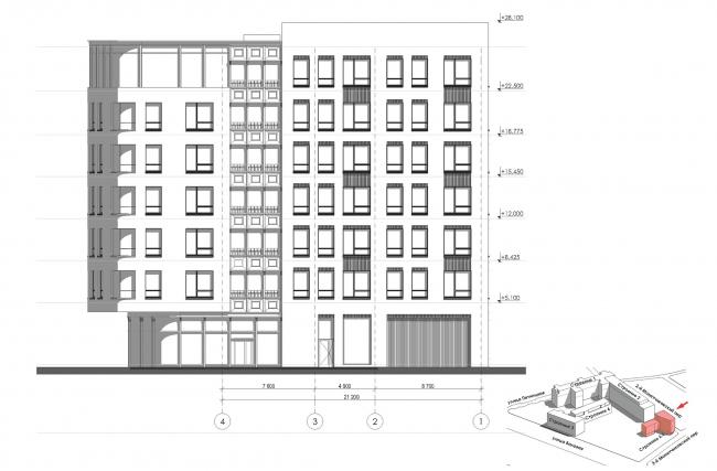 Конкурсный проект реновации первой образцовой типографии. Фасад по 2-му Монетчиковскому переулку. Корпус 6  © Архитектурная мастерская «Группа АБВ»