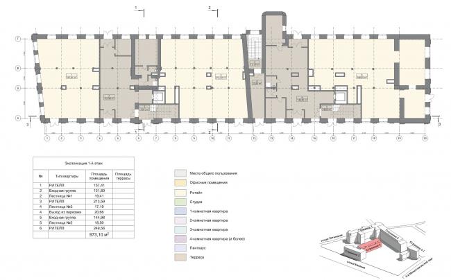 Конкурсный проект реновации первой образцовой типографии. Корпус 4. План 1 этажа © Архитектурная мастерская «Группа АБВ»