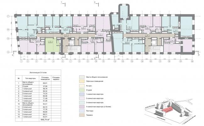 Конкурсный проект реновации первой образцовой типографии. Корпус 4. План 2 (типового) этажа © Архитектурная мастерская «Группа АБВ»