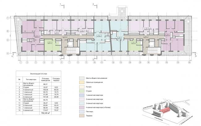 Конкурсный проект реновации первой образцовой типографии. Корпус 4. План 5 этажа © Архитектурная мастерская «Группа АБВ»