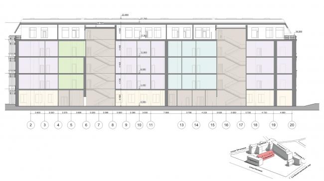 Конкурсный проект реновации первой образцовой типографии. Корпус 4. Разрез 3-3 © Архитектурная мастерская «Группа АБВ»