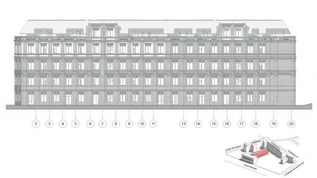 Конкурсный проект реновации первой образцовой типографии. Корпус 4. Восточный фасад © Архитектурная мастерская «Группа АБВ»