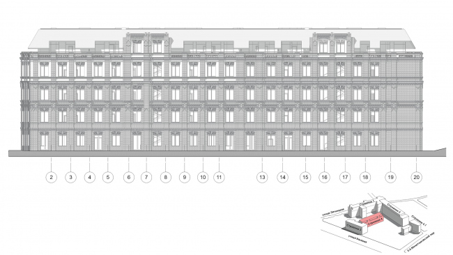 Contest project of renovating the First Exemplary Printing Works. Building 4. The east facade © ABV Group