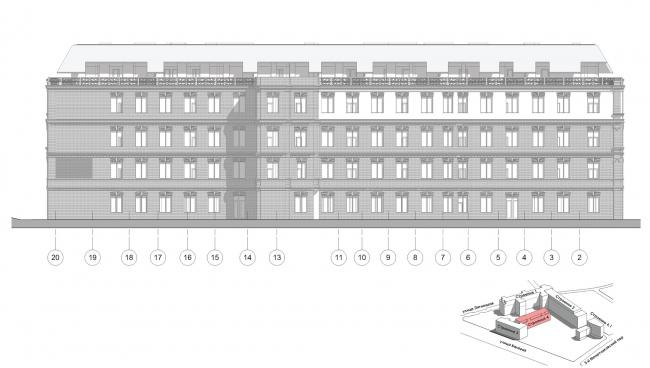Конкурсный проект реновации первой образцовой типографии. Корпус 4. Западный фасад © Архитектурная мастерская «Группа АБВ»