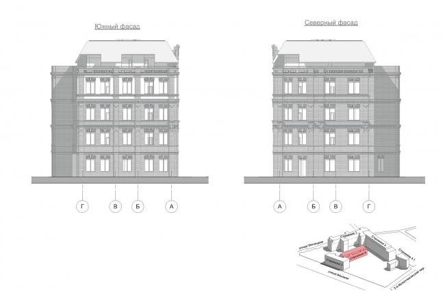 Конкурсный проект реновации первой образцовой типографии. Корпус 4. Южный и северный фасады © Архитектурная мастерская «Группа АБВ»