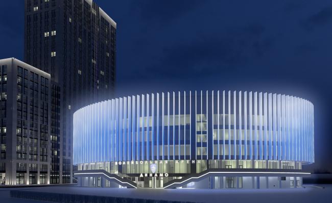 Многофункциональный комплекс с апартаментами и спортивной волейбольной ареной. Ночное освещение. Вид 3 © Архитектурная мастерская «Группа АБВ»со стороны ул. В. Кожиной
