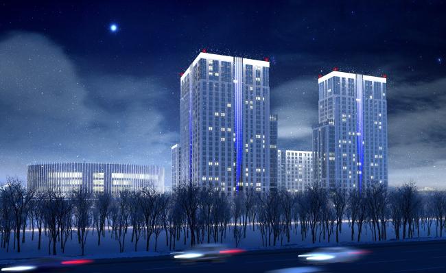 Многофункциональный комплекс с апартаментами и спортивной волейбольной ареной. Ночное освещение. Вид со стороны Кутузовского проспекта © Архитектурная мастерская «Группа АБВ»