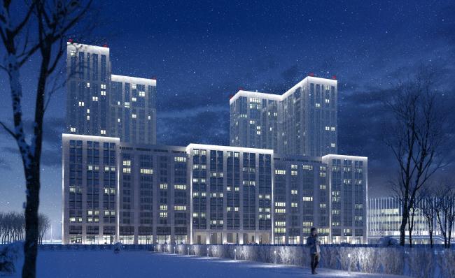 Многофункциональный комплекс с апартаментами и спортивной волейбольной ареной. Ночное освещение. Вид  1 со стороны ул. В. Кожиной © Архитектурная мастерская «Группа АБВ»