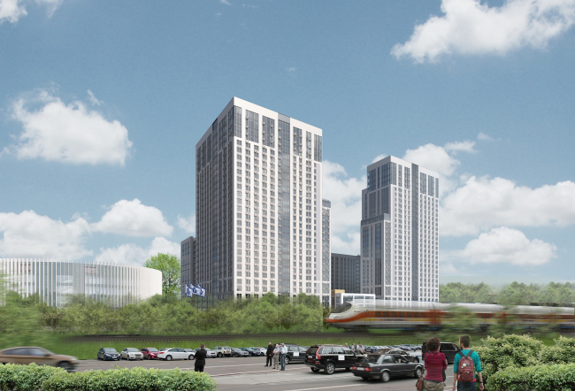 Multifunctional complex with apartments and a volleball arena. View from the Kutuzovsky Avenue backup highway. Visualization © ABV Group