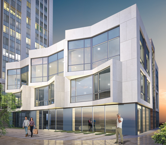 Multifunctional complex with apartments and a volleball arena. Office building. Visualization © ABV Group