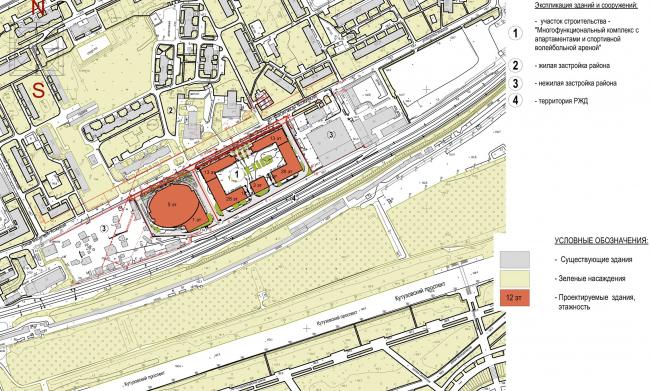 Многофункциональный комплекс с апартаментами и спортивной волейбольной ареной. Ситуационный план. Проект © Архитектурная мастерская «Группа АБВ»