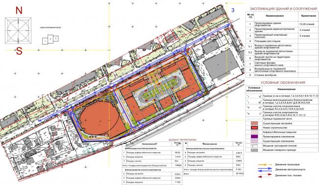 Многофункциональный комплекс с апартаментами и спортивной волейбольной ареной. Схема генерального плана. Схема организации дорожного движения © Архитектурная мастерская «Группа АБВ»