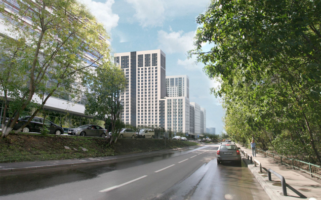 Multifunctional complex with apartments and a volleball arena. Visualization along the Vasilisy Kozhinoi Street. View 2 © ABV Group