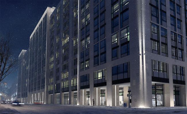 Многофункциональный комплекс с апартаментами и спортивной волейбольной ареной. Ночное освещение. Вид 2 со стороны В.Кожиной © Архитектурная мастерская «Группа АБВ»