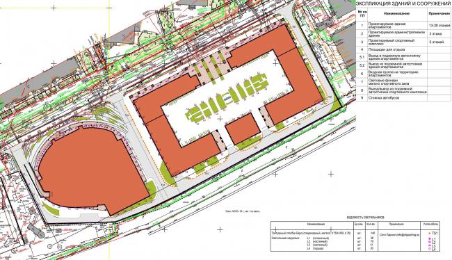 Многофункциональный комплекс с апартаментами и спортивной волейбольной ареной. Схема плана ландшафтного освещения © Архитектурная мастерская «Группа АБВ»