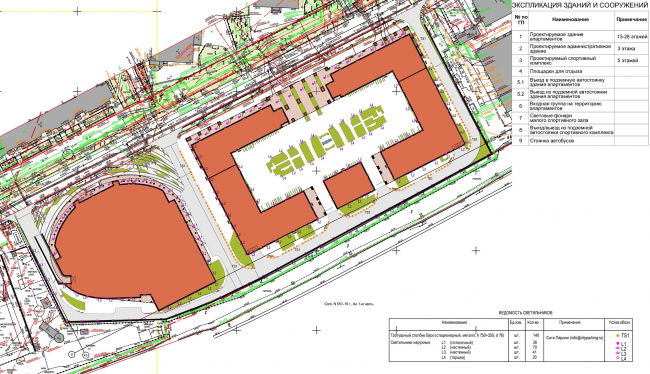 Multifunctional complex with apartments and a volleball arena. Landscape lighting plan. Sports complex © ABV Group