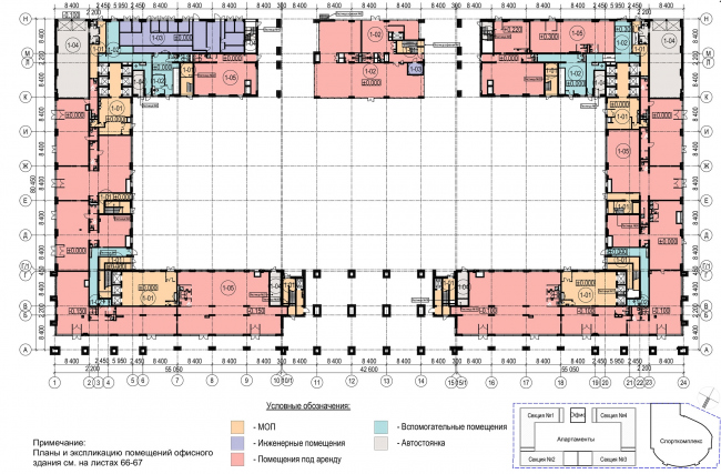Многофункциональный комплекс с апартаментами и спортивной волейбольной ареной. План 1 этажа © Архитектурная мастерская «Группа АБВ»