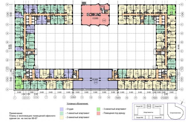 Многофункциональный комплекс с апартаментами и спортивной волейбольной ареной. План 2 этажа © Архитектурная мастерская «Группа АБВ»