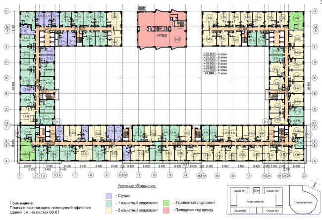 Многофункциональный комплекс с апартаментами и спортивной волейбольной ареной. План типового (3-9 этажей) © Архитектурная мастерская «Группа АБВ»