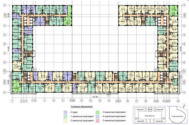 Многофункциональный комплекс с апартаментами и спортивной волейбольной ареной. План 10 этажа © Архитектурная мастерская «Группа АБВ»