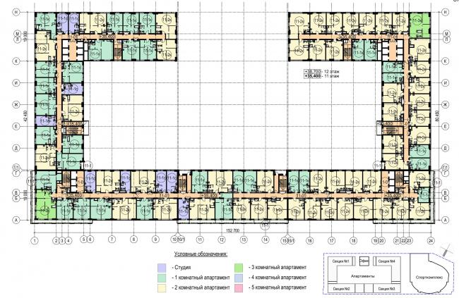 Многофункциональный комплекс с апартаментами и спортивной волейбольной ареной. План типового (11-12) этажа © Архитектурная мастерская «Группа АБВ»