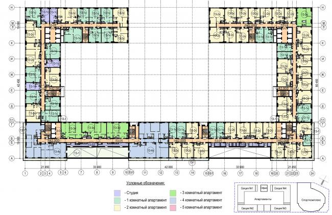 Многофункциональный комплекс с апартаментами и спортивной волейбольной ареной. План 13 этажа © Архитектурная мастерская «Группа АБВ»