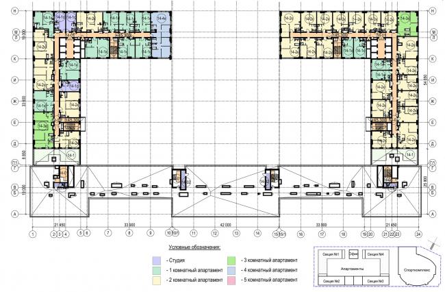 Многофункциональный комплекс с апартаментами и спортивной волейбольной ареной. План 14 этажа © Архитектурная мастерская «Группа АБВ»