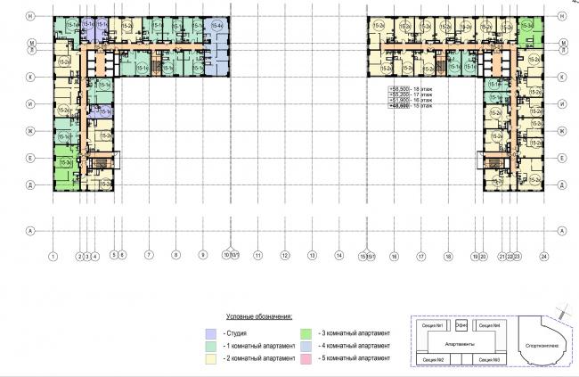 Многофункциональный комплекс с апартаментами и спортивной волейбольной ареной. План типового (15-18)  этажа © Архитектурная мастерская «Группа АБВ»