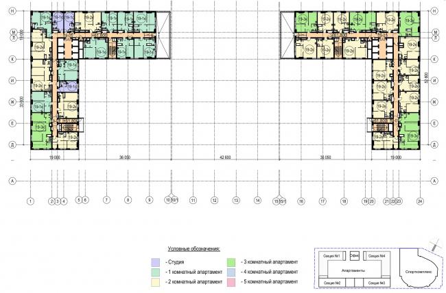 Многофункциональный комплекс с апартаментами и спортивной волейбольной ареной. План 19 этажа © Архитектурная мастерская «Группа АБВ»