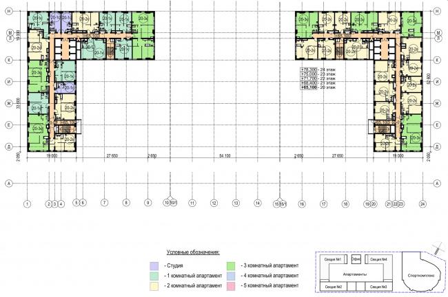 Многофункциональный комплекс с апартаментами и спортивной волейбольной ареной. План типового (20-24) этажа © Архитектурная мастерская «Группа АБВ»