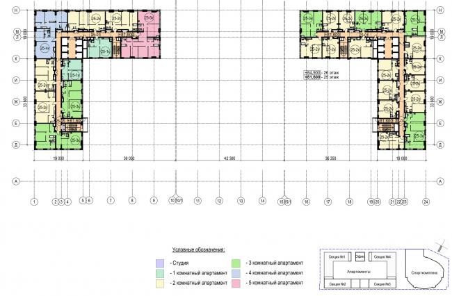 Многофункциональный комплекс с апартаментами и спортивной волейбольной ареной. План типового (25-26) этажа © Архитектурная мастерская «Группа АБВ»