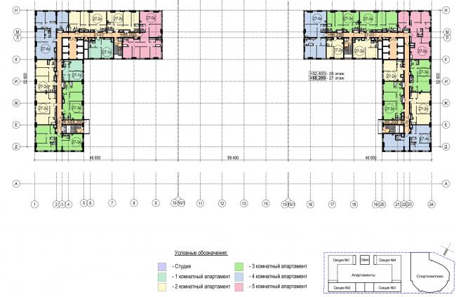 Многофункциональный комплекс с апартаментами и спортивной волейбольной ареной. План типового (25-28) этажа © Архитектурная мастерская «Группа АБВ»