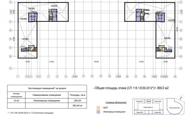 Многофункциональный комплекс с апартаментами и спортивной волейбольной ареной. План кровли © Архитектурная мастерская «Группа АБВ»