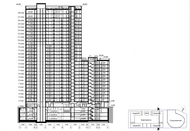Многофункциональный комплекс с апартаментами и спортивной волейбольной ареной. Разрез 1-1 © Архитектурная мастерская «Группа АБВ»