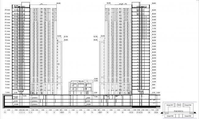 Многофункциональный комплекс с апартаментами и спортивной волейбольной ареной. Разрез 2-2 © Архитектурная мастерская «Группа АБВ»
