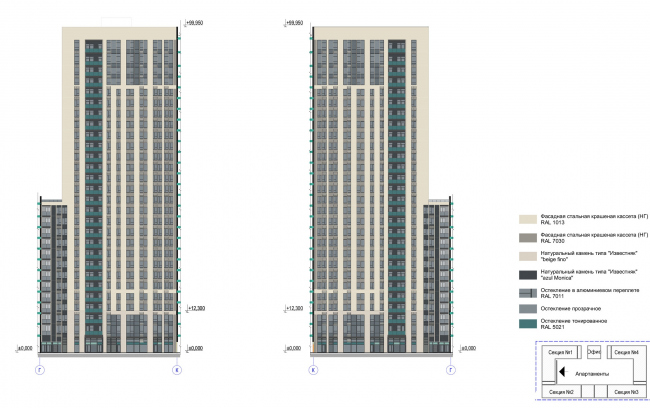 Multifunctional complex with apartments and a volleball arena. Facade in axes К-Г © ABV Group