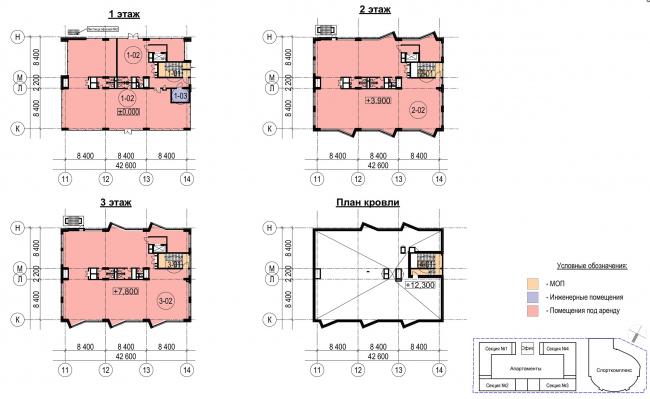 Многофункциональный комплекс с апартаментами и спортивной волейбольной ареной. Планы этажей офисного здания © Архитектурная мастерская «Группа АБВ»